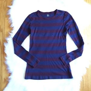 Women's Navy & Burgundy Striped Top Old Navy Small